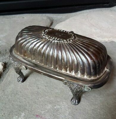 Antique F.B. Rogers Silver Company Silverplate Roll Top Lion Footed Butter Dish
