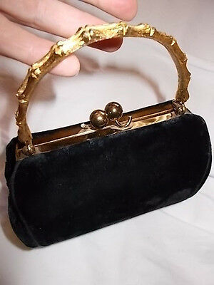 Vintage dainty 50's Black Velvet purse gold tone bamboo handle small evening