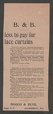 Vintage Ad From The Gentlewoman March 1900 Boggs & Buhl Lace Curtains