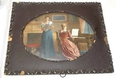 Antique Ornate Wood Framed Victorian Ladies Print With Piano - As Is -