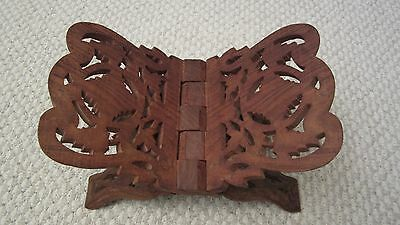 Antique Vintage Carved Teak Wood Collapsible Foldable Magazine Book Holder Rack