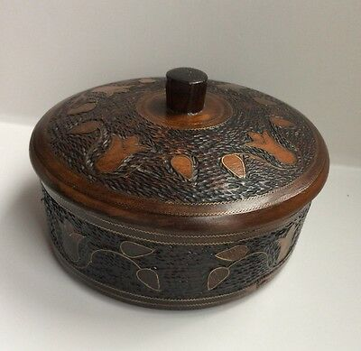 "Vintage Round Carved Wood Box with Inlaid Brass Floral Design 6 1/2"" Diameter."