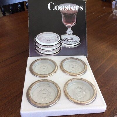 Vintage Leonard Crystal & Silver Plate Coasters from Italy New in Box!