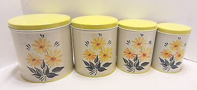 Set 4 Vintage Metal Canisters Yellow Lids Lithographed Daisies 1950's Colorware