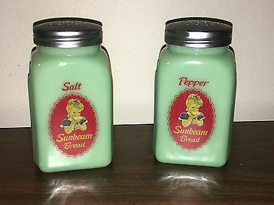 Jadeite Sunbeam Girl Salt & Pepper Shakers Arched Style Excellent condition