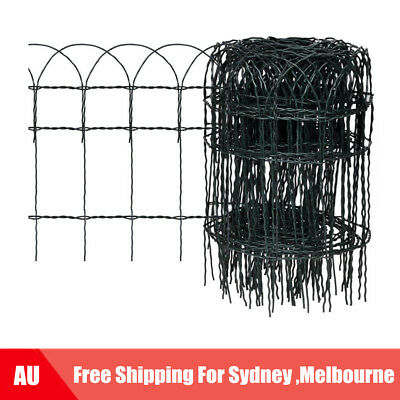 Expandable Mesh Fence Garden Edging Border Iron Wire Chain Fencing 10x0.4 m X8P2