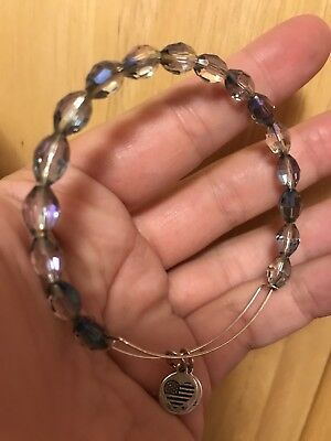 Alex And Ani Serenity Bracelet Bangle, Blue Crystal Beaded, Russian Silver