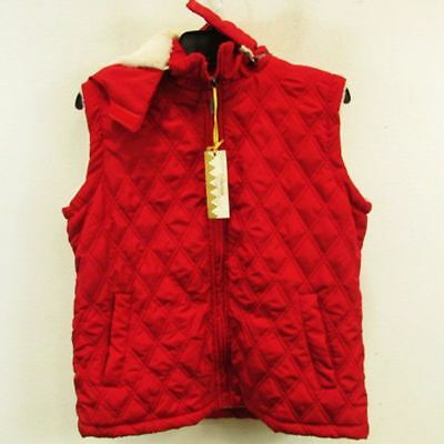Bestow Women's Red Quilted Faux Fur Lined Vest Size M NWT SRP $50