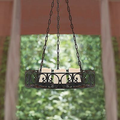 Spanish Style Chandelier Black Sophisticated Scroll Design Indoor Outdoor Decor