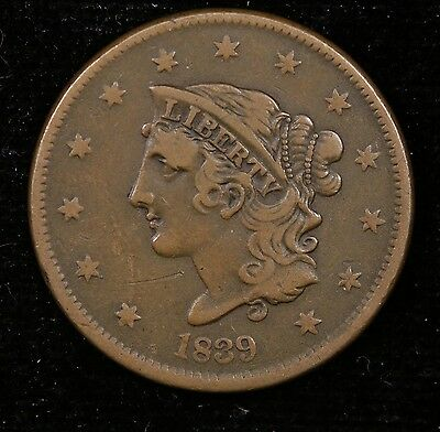 "1839 ""Booby Head"" Coronet Head Large Cent N5 - VF"