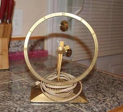 Vintage Mid Century Jefferson Golden Hour Mystery Clock 1950's As Is