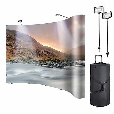 8ft Portable Display Trade Show Booth Curved Exhibit Black Pop Up Kit Spotlights