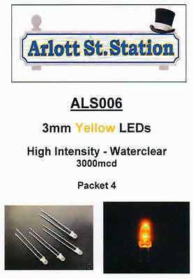 ALS006 3mm Yellow LEDs - High Intensity 3000mcd - For DC & DCC - Pkt 4