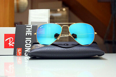 New Ray Ban Aviator RB3025 112/17 58mm  Gold Frame Blue  Mirror Unisex AUTHENTIC