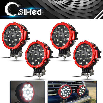 4X 7Inch 51W Led Driving Light Flood Beam Offroad Round Truck 4X4Wd Fog Lamp Red