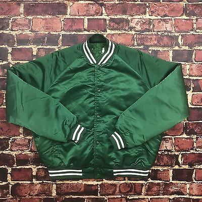 Vintage 80s Satin Baseball Varsity Bomber Jacket Mens L Large Football Letterman