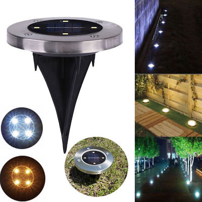 4x Solar Powered 4 LED Buried Inground Recessed Light Garden Outdoor Deck Path