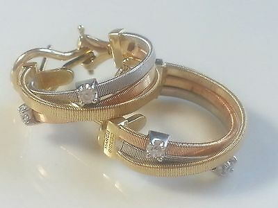 Marco Bicego Hoop  Earrings 3 Tone 18k gold 0.12 Tcw Diamonds