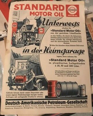 1930s German Standard Oil Dapolin Esso Advertising Paper Motor Car Can Gas