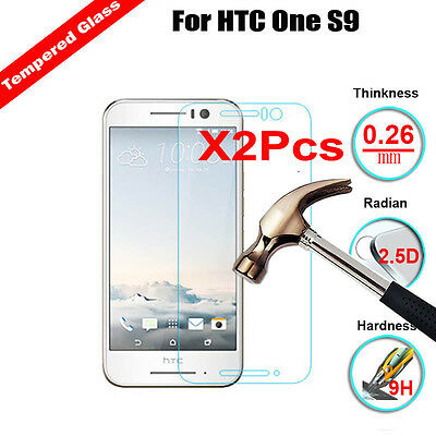 2Pcs Real 9H+ Tempered Glass Film HD Screen Protector Cover Guard For HTC One S9