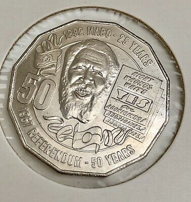 50 Cent Eddie Mabo- 25 Years UNC 2017 Australian Coin In Capsule