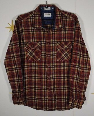 Vintage Mens CAMPUS Rugged Country Wool Blend Plaid Flannel Grunge Shirt Sz XL
