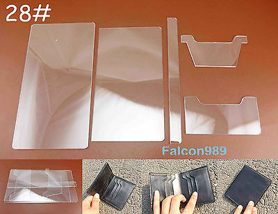 5pc Leather Craft Acrylic Perspex Short Wallet Pattern Stencil Template Tool Set