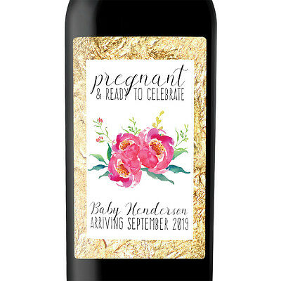Pregnancy Announcement - Baby Shower Party Invitation Custom Wine Label Set of 4