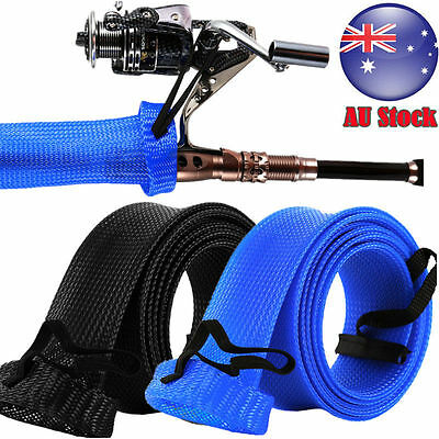 Expandable Braided Fishing Rod Sleeve Spinning Rod Cover Sleeve Protector AU