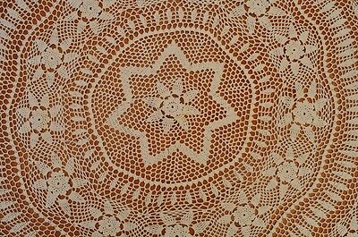 Vintage Heirloom Crochet Tablecloth - Round - 190cm - Cream Cotton - Floral