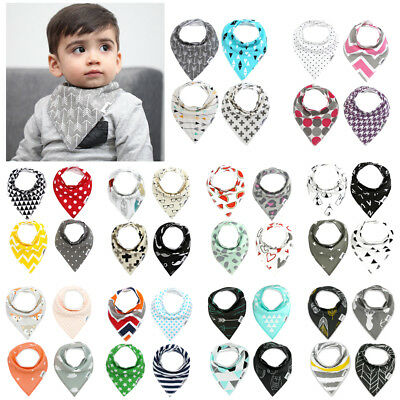 4Pcs Infant Kids Baby Burp Feeding Saliva Towel Dribble Triangle Bandana Bibs BN
