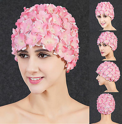 Ladies Vintage Style Bubble Swimming Hat Bathing Cap with Flowers by Fashy UK.