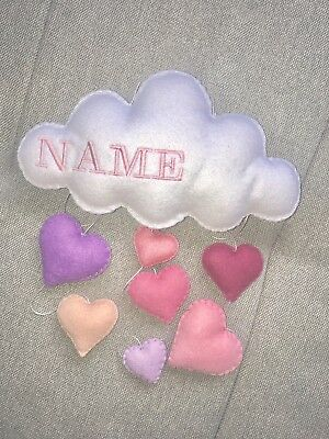 Personalized baby girl hanging nursery mobile wall decoration heart cloud