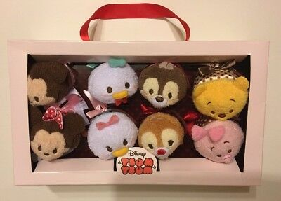 "DISNEY Store TSUM TSUM Plush 2016 VALENTINE HOLIDAY Set of 8 Mini 3 1/2"" USA NEW"