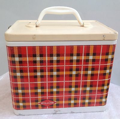 Vintage Retro Small Tartan Metal Willow Ice Cooler Box And Ice Block Six Pack