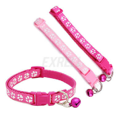 Cute Small Paw Footprint With Bell Pet Safety Collar Nylon Cat Kitten Dog Puppy