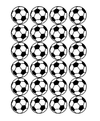 24 x Large Soccer Ball Edible Cupcake Toppers Birthday Party Cake Decoration