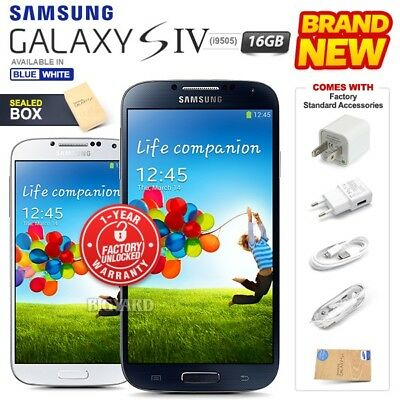 New Factory Unlocked SAMSUNG Galaxy S4 i9505 Blue White 16GB Android Smartphone