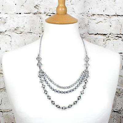 CELINE vintage style crystal layered baby proof nursing necklace in silver grey