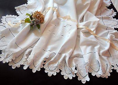 French Antique Linen Sheet w/Fine Embroidery