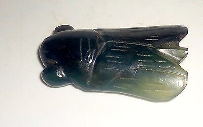 Vintage Carved Dark Green Gray Jade Beetle Cicada