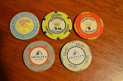 Collection of casino chips Sky City, Crown, Canberra
