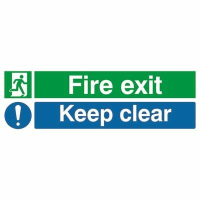 Safety Sign Fire Exit Keep Clear 150x450mm PVC EC08S/R [SR71732]