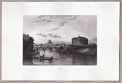 Rom, Roma, Tiber, Petersdom, Engelsburg - Stahlstich, Engraving, Gravure 1861