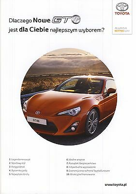 Toyota GT86 05 / 2012 catalogue brochure pre launch Pologne Poland