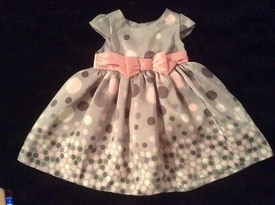 Silver Grey Pink and Cream Polka Dot Baby girls dress 0-3 months by BHS