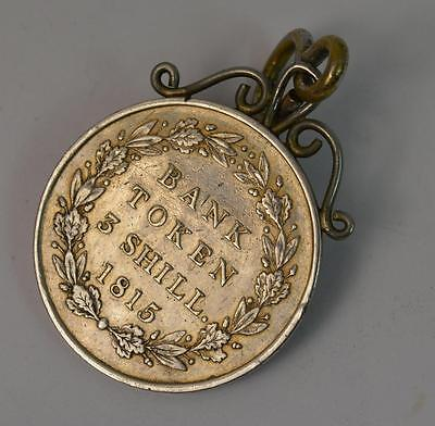 George III Solid Silver 1815 Bank Token 3 Shilling Coin Pendant