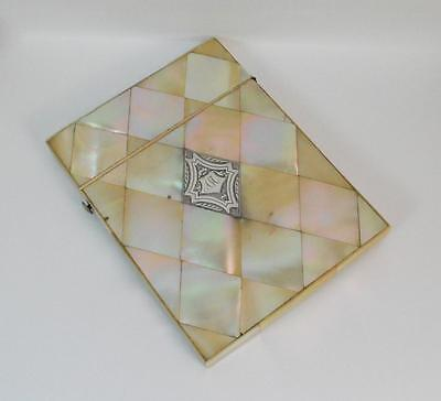 Antique Mother of Pearl Ladies Calling Card Case with Silver Cartouche