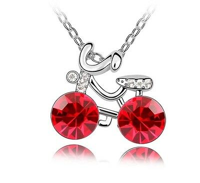 Bicycle Pendant Necklace Red Czech Crystal Spinning Lovers gifts Rhodium plated