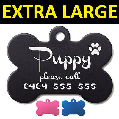 Extra Large 5cm Bone Pet ID Tag Dog Puppy Personalised Laser Engraved Aluminium